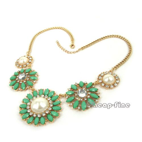 Vintage Gold White Green Flower Pearl Acryl Choker Bib Link Statement Necklace