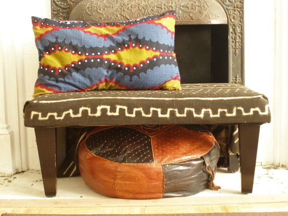 African MUDCLOTH Bench Ottoman and CUSTOM Bogolan