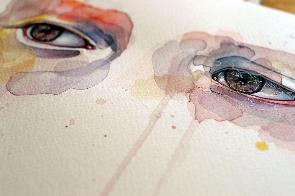 Closeup - watercolor eye study, spring variations by jane-beata.deviantart.com on @deviantART
