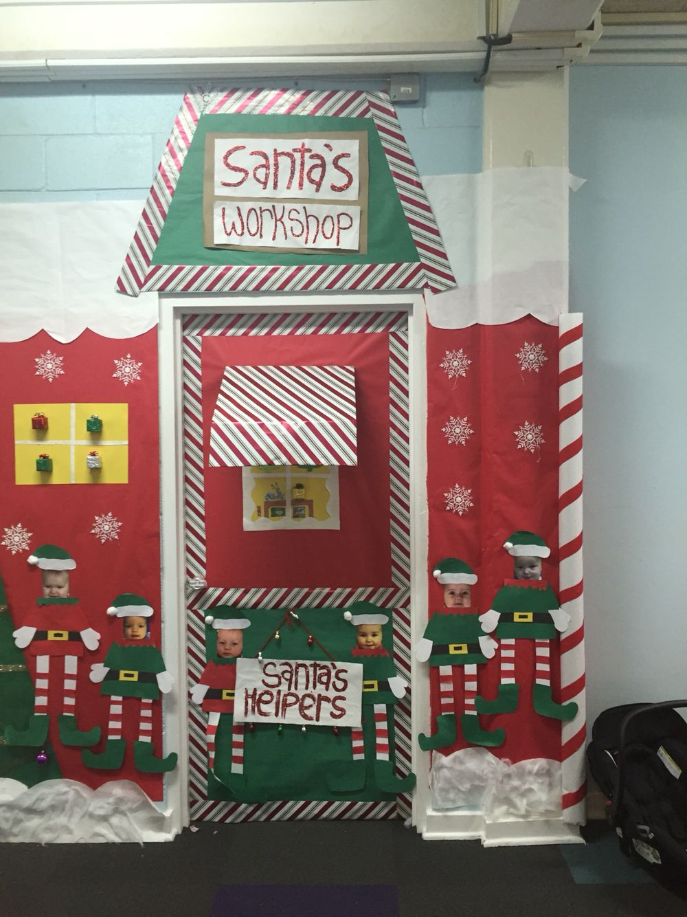 Santa S Work Shop Office Christmas Decorations Christmas Door