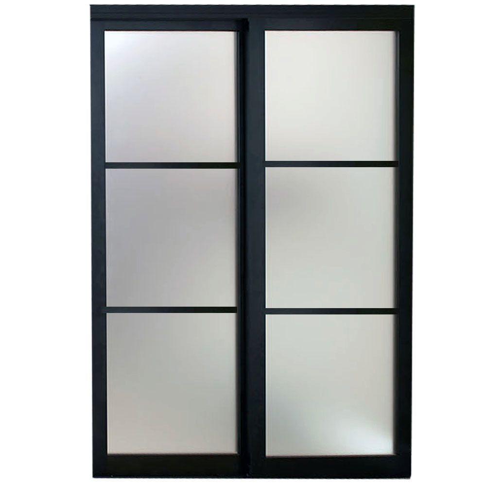 Contractors Wardrobe 96 In X 81 In Eclipse 3 Lite Bronze Aluminum Frame Mystique Glass Interio Sliding Doors Interior Contractors Wardrobe Barn Doors Sliding