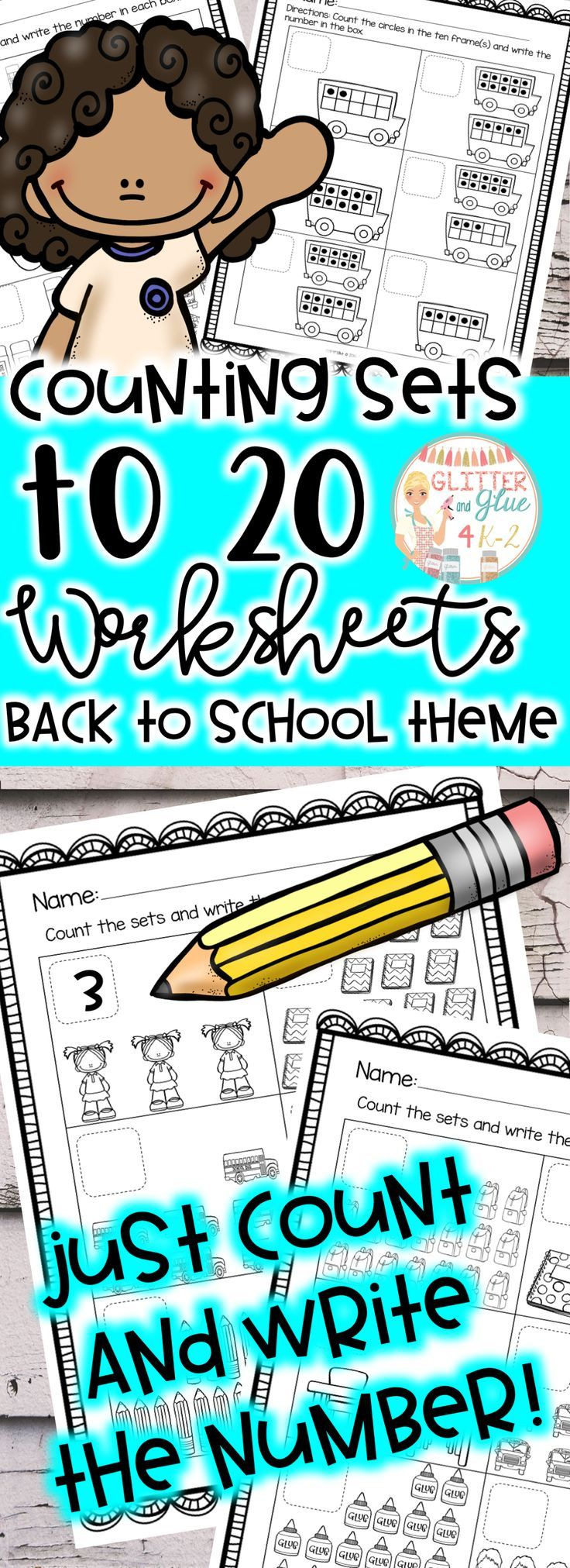 Counting Sets to 20: Back to School Theme | Kindergarten counting ...