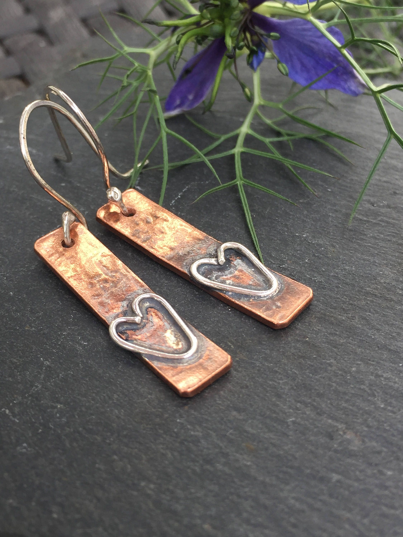 f86a9982e Mixed Metal Heart Earrings, Rustic Silver and Copper Earrings, Artisan  Earrings, Rustic Earrings, Boho Earrings, Handmade, Gift for Her by ...