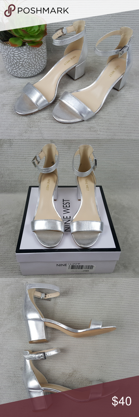 dfa07685e12 Nine West Fields Block Heel Ankle Strap Sandals Comes in a beautiful  metallic silver. Excellent condition. Ships in original box. Please see  pics.