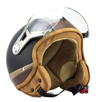 57-58cm SOXON SP-325 Imola /· Vespa-Helmet Bobber Vintage Chopper Cruiser Biker Scooter-Helmet Retro Jet-Helmet Mofa Pilot Moto-Helmet /· ECE certified /· incl Visor /· incl Cloth Bag /· Beige /·  M