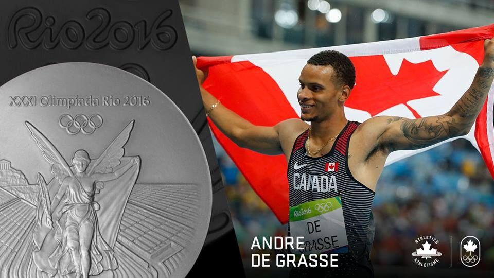A silver good as gold for pounding Canadian hearts. Andre De Grasse.  Andre De Grasse #TeamCanada #Rio2016