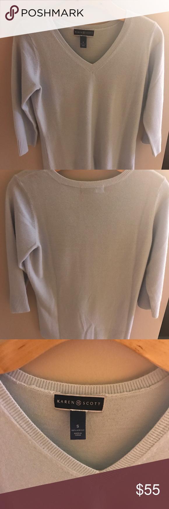 Karen Scott Dusty blue V-neck sweater Brand new. Never worn. No tags. Karen Scott Sweaters V-Necks
