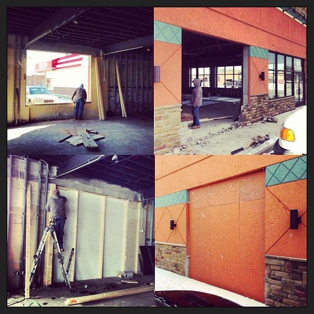 Putting up the temporary garage door covering. | Door ...