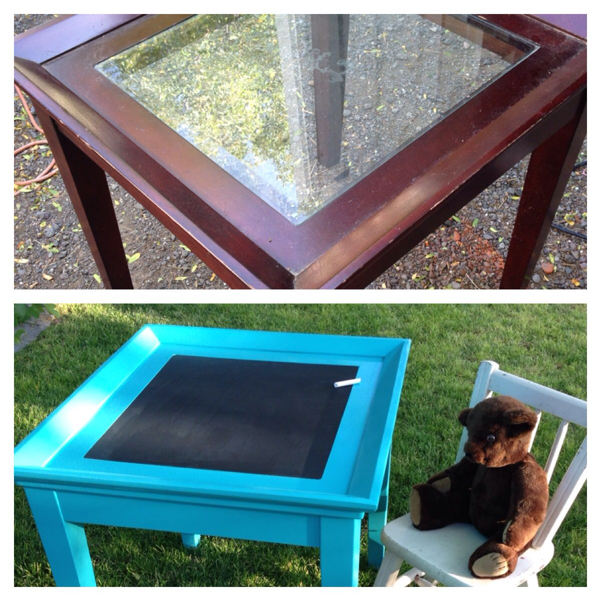 Repurposed End Table With Broken Glass Insert Turned Into A Chalkboard Child S Table Replaced Glass With 1 8 Inch Piec Kid Table Diy Coffee Table Diy Table