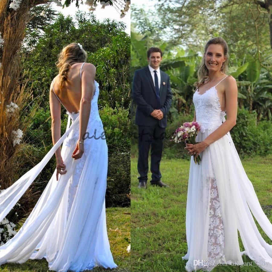 Vintage Lace Chiffon Greek Goddess Beach Wedding Dresses 2018 Modest Spaghetti Backless Couontry Online Wedding Dress A Line Wedding Dress Bridal Gown Cheaper,Plus Size Older Bride Wedding Dresses