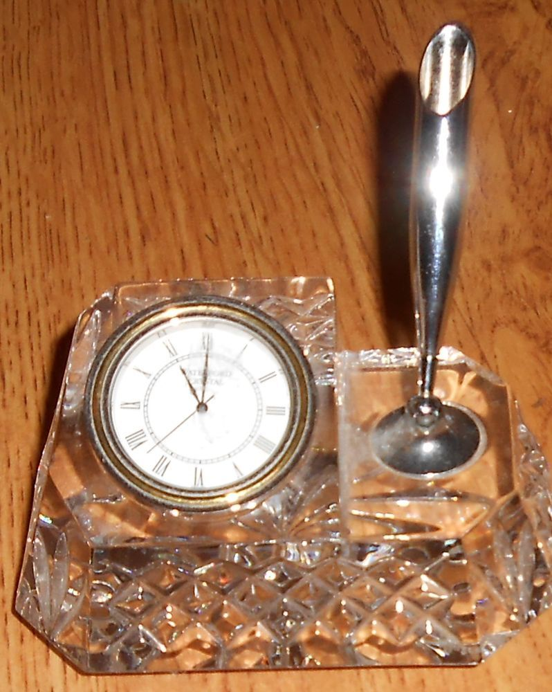 Waterford Crystal Clear Glass Desk Clock With Silver Pen Holder Waterford Glass Desk Waterford Crystal Cool Things To Buy
