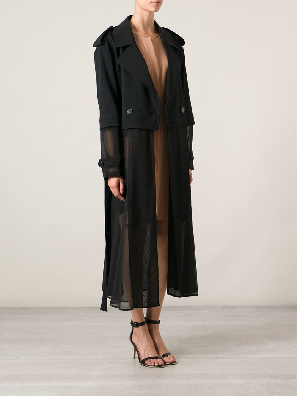 Shop DKNY sheer long trench coat from Farfetch  2f76f6baf8