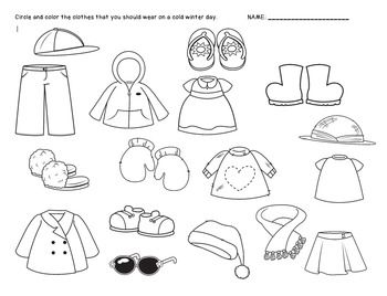 Winter Clothes Sorting Worksheet {FREEBIE} | winter/snowman ...