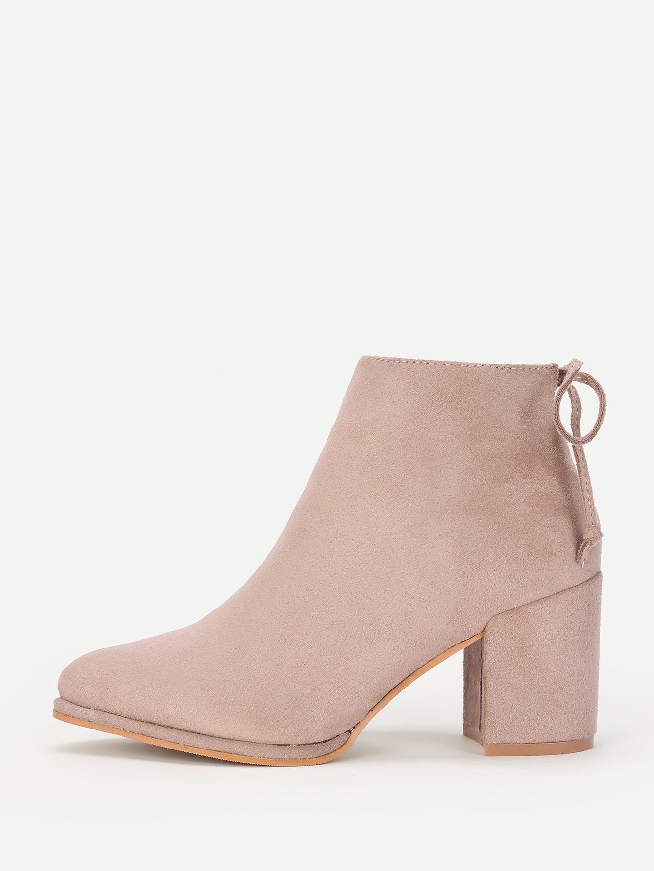 b142b19db8 ROMWE - #ROMWE Lace Up Back Block Heeled Ankle Boots - AdoreWe.com ...
