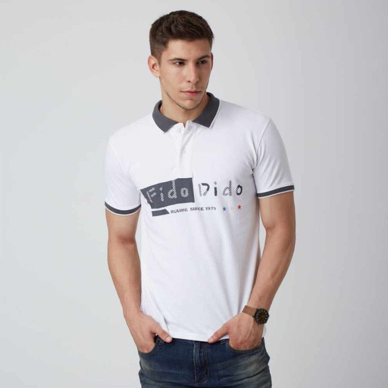 Fido dido white half sleeves polo neck tshirt for men