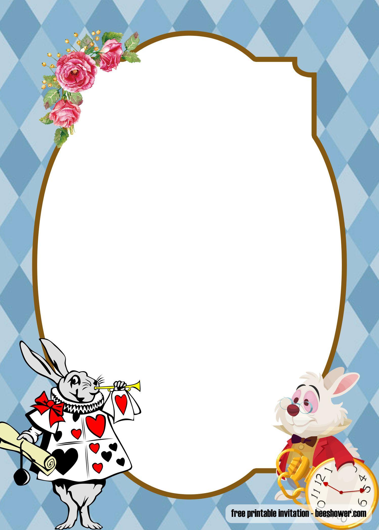 FREE Alice In Wonderland Baby Shower Invitations