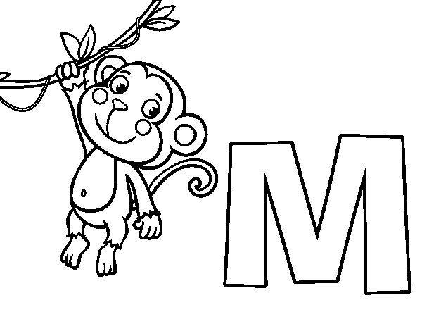 Dibujo De M De Mono Para Colorear Letras Dibujos Para Pintar