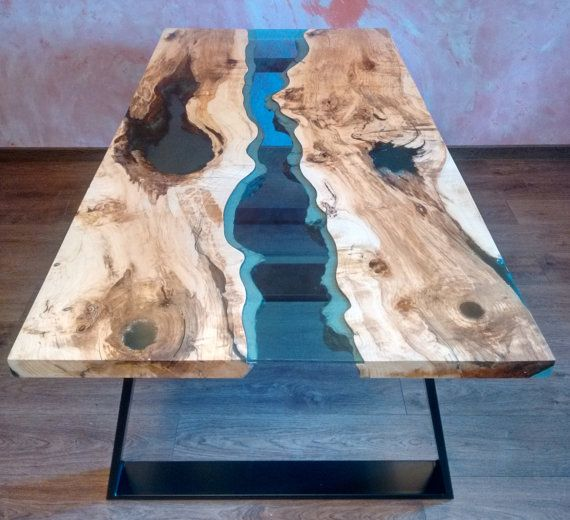 Sold Live Edge River Table Blue Valley With Blue Epoxy Resin Sold