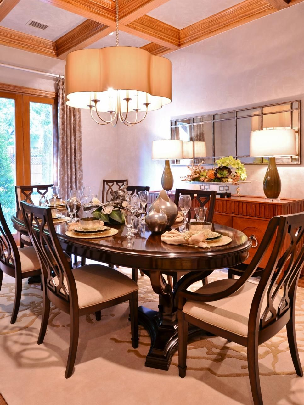 This dining room pairs traditional pieces, like the ... on Dining Table Ceiling Design  id=74663