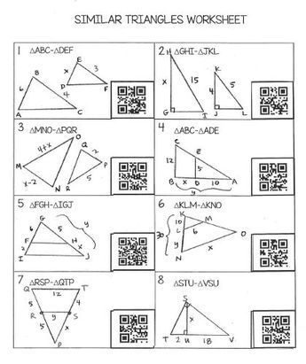 Similar Triangles Worksheet With Qr Codes Free Geometry Worksheets Teaching Geometry Triangle Worksheet