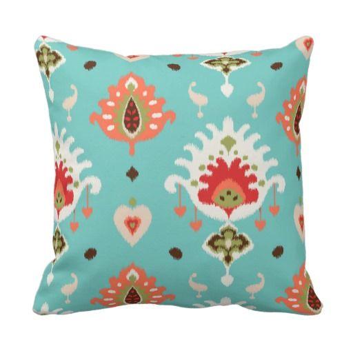 Modern Chic Pillows : Chic modern orange turquoise ikat tribal pattern throw pillow Tribal patterns, Throw pillows ...