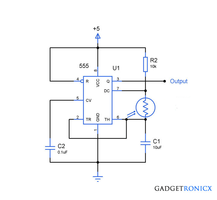 Light to frequency converter circuit using simple Light dependent ...