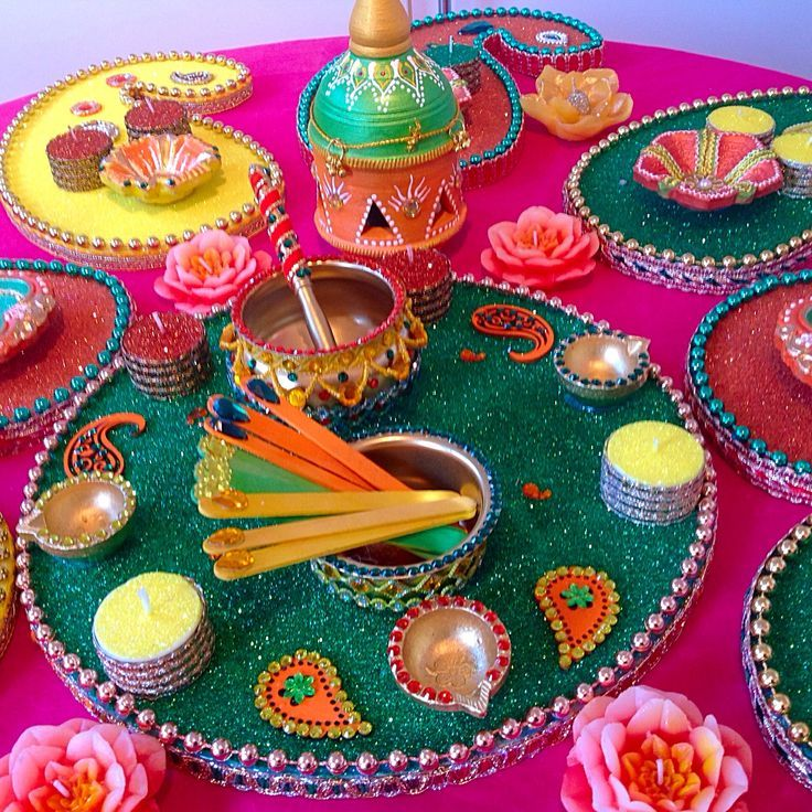 Mehndi Decoration Diy : Homemade mehndi thaals and baskets wedding ideas