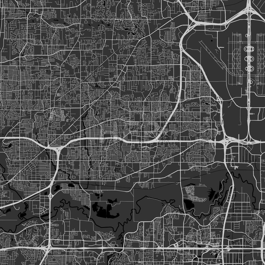 Bedford downtown and surroundings Map in dark