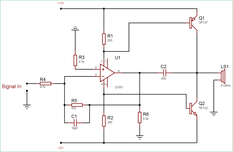 10 Watt Audio Amplifier Circuit using Op-Amp and Power
