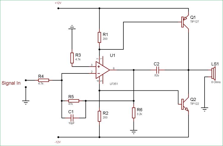 10 Watt Audio Amplifier Circuit using Op-Amp and Power