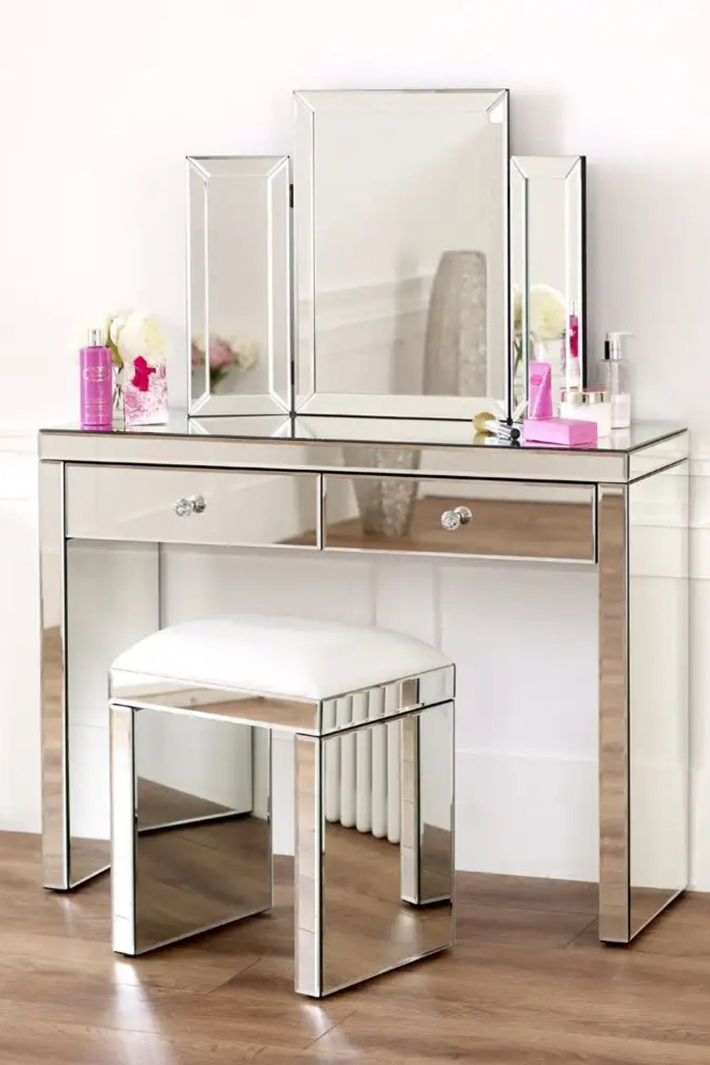 Dressing Table Set 2 Drawer Dressing Table Mirrored Furniture