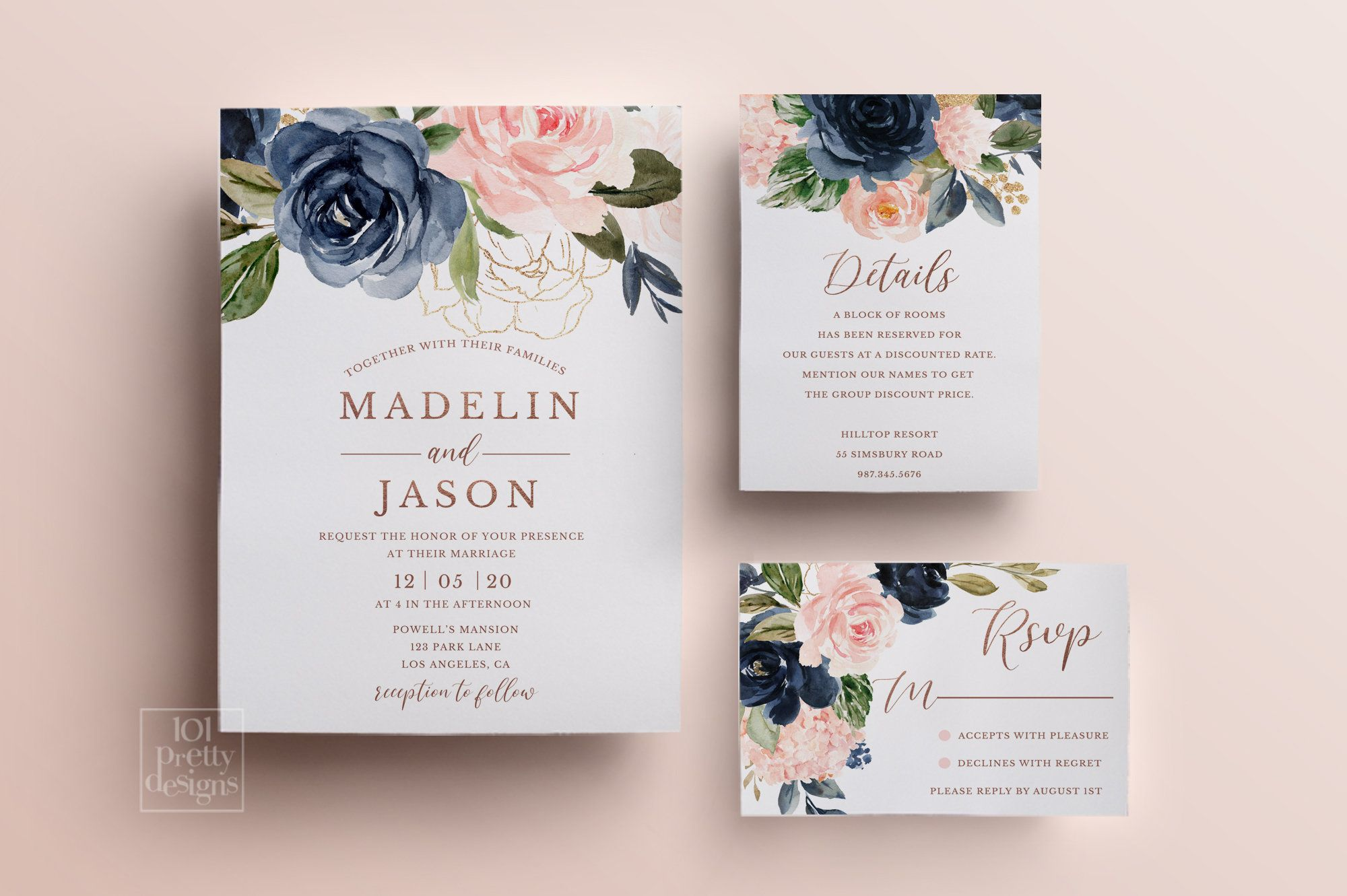 Navy And Pink Flowers Wedding Invitation Design Floral Wedding