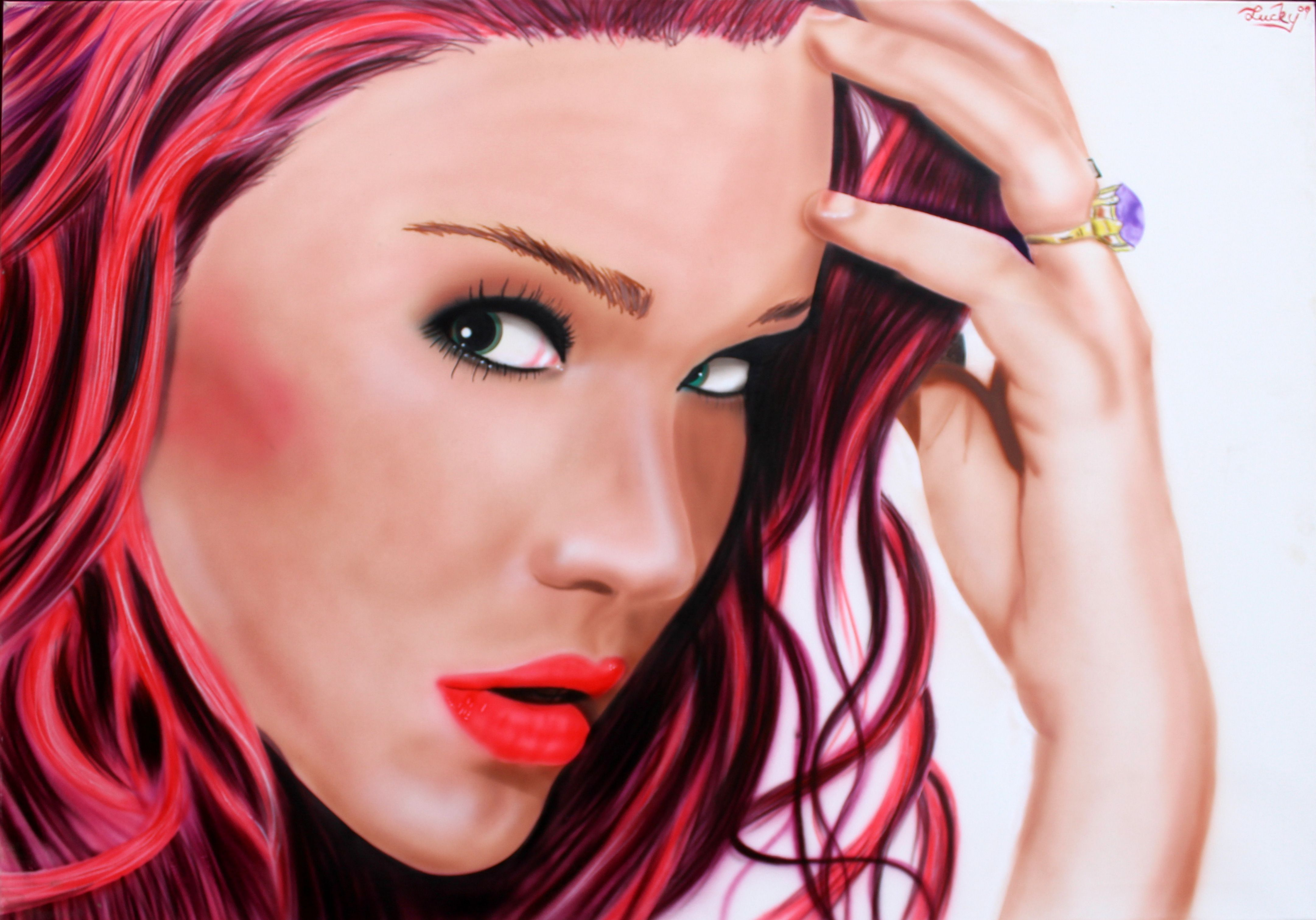 Joss stone airbrushed portrait by me, follow me on facebook   Lucky art