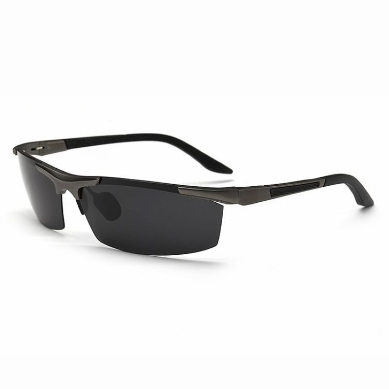 bbbe7dee0bf Mens Sports Polarized Rimless Wrap Fishing Sunglasses Metal Gun Grey Frame  Grey Lens