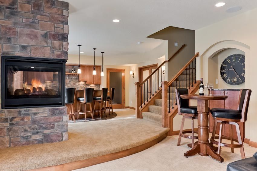 Basement Great Room with Wet Bar and Fireplace | Basement ...