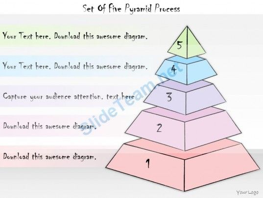 Business Ppt Diagram Set Of Five Pyramid Process Powerpoint