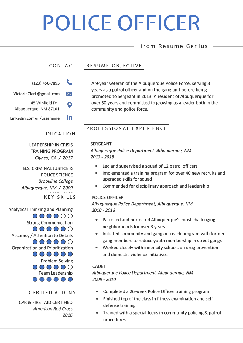 Police Officer Resume Example Writing Tips Resume Genius Police Officer Resume Job Resume Examples Resume Examples