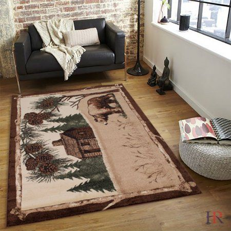 "HR RUSTIC CABIN AREA RUG ""BEAR AND LODGE"" DESIGN - Walmart.com"