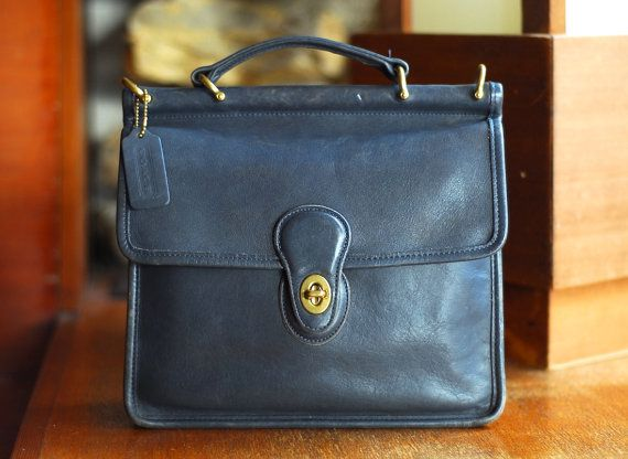 Vintage Coach Navy Blue Leather Purse By Honeytalkvintage