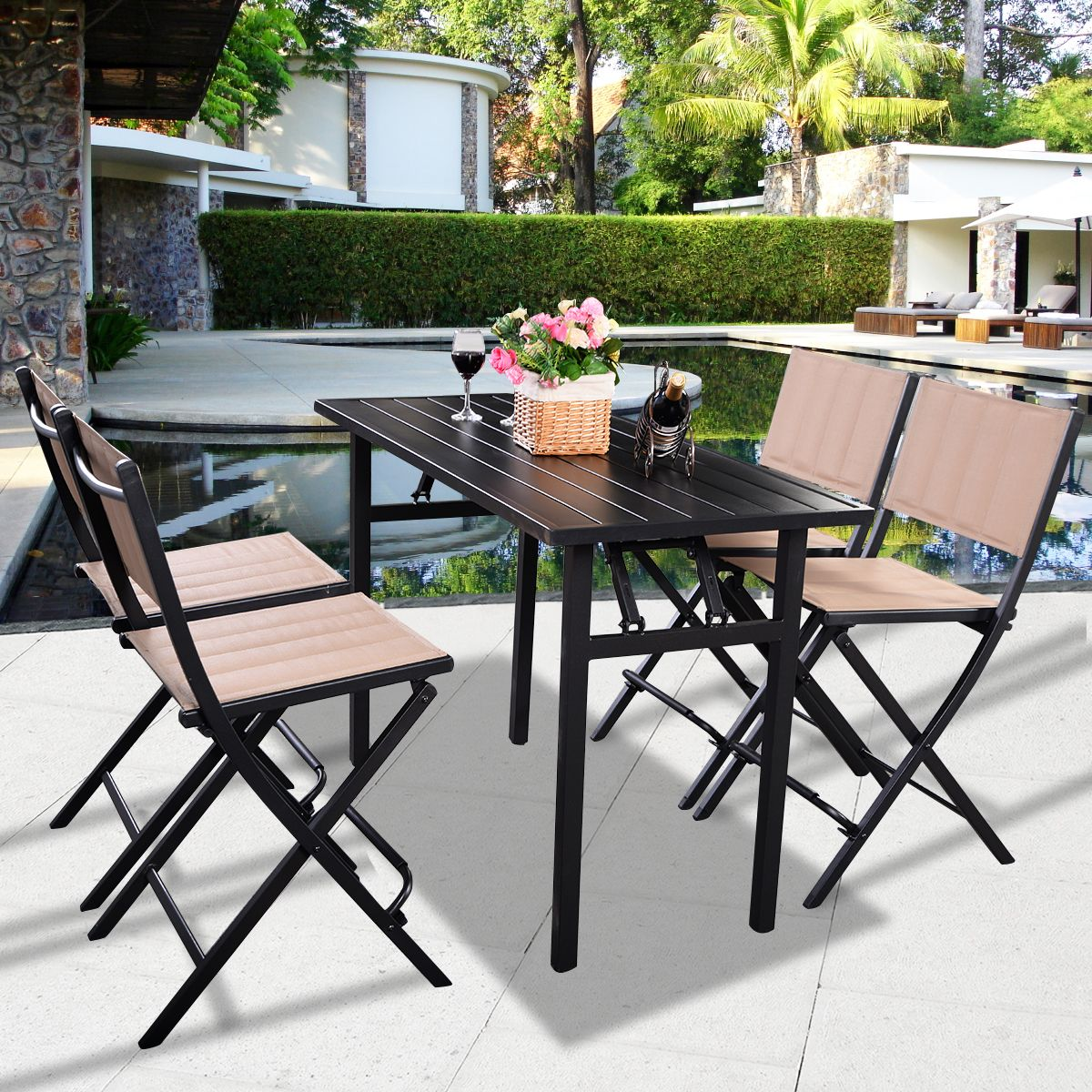 costway 5 pcs patio outdoor folding chairs rect table furniture set