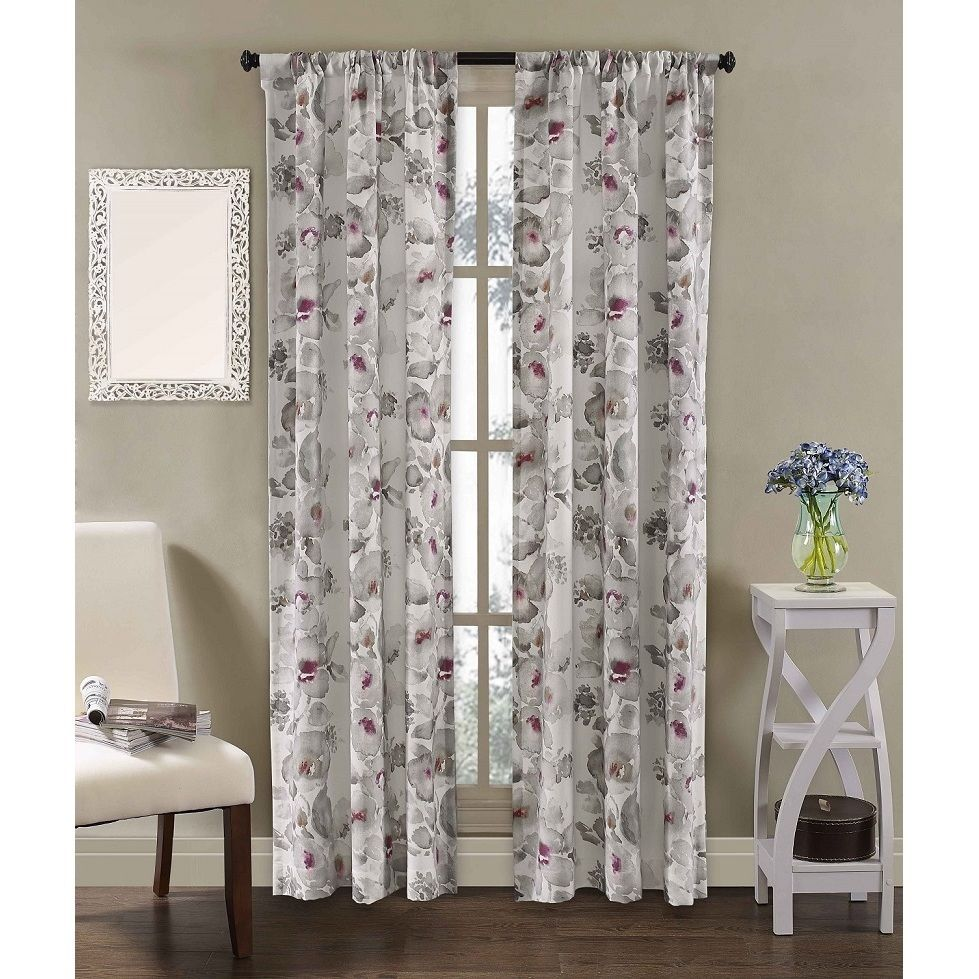 Richloom Home Fashions Dahlia Rod Pocket Curtain Panel Pair 84 Multi Size Inches Cotton Floral