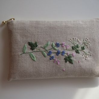 French Pouch Embroidery Kit Color Choice