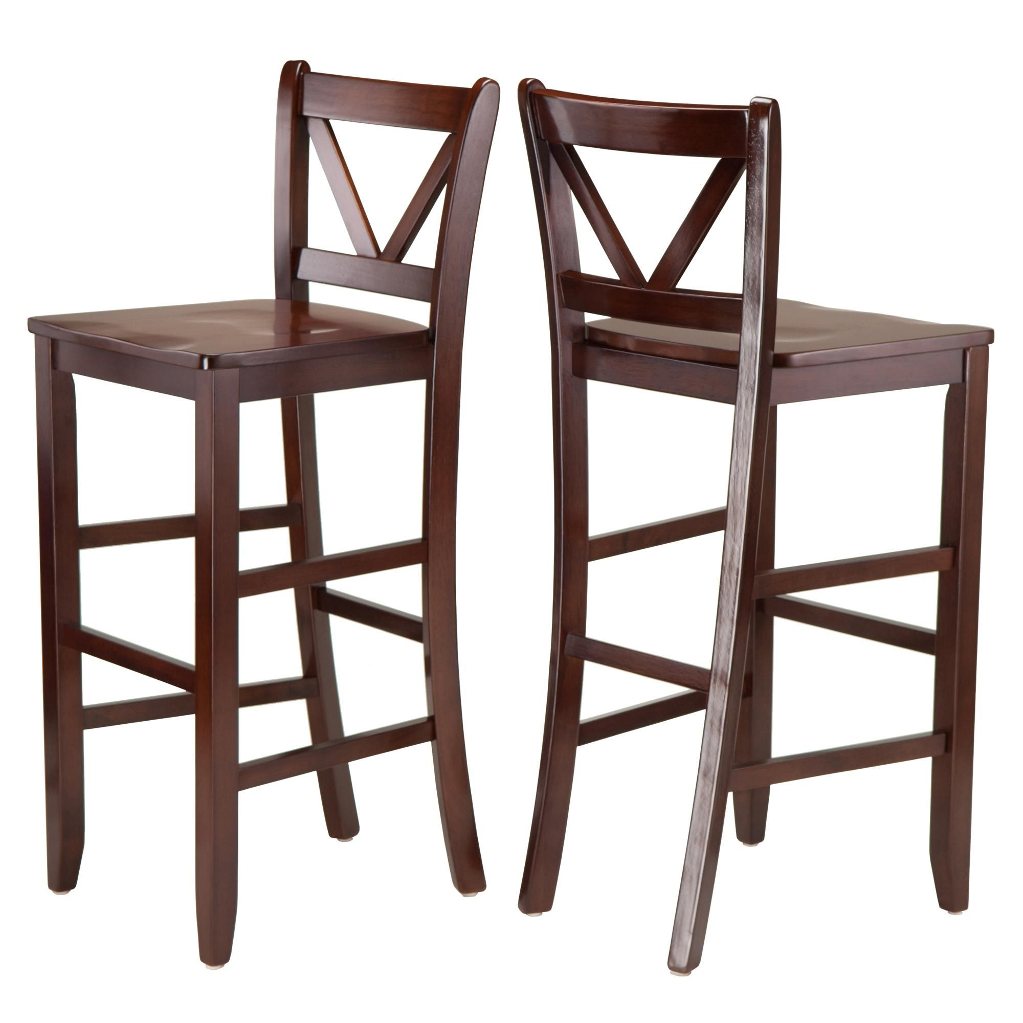 Amazon.com: Winsome Victor 2-Piece V-Back Bar Stools, 29-Inch, Brown ...