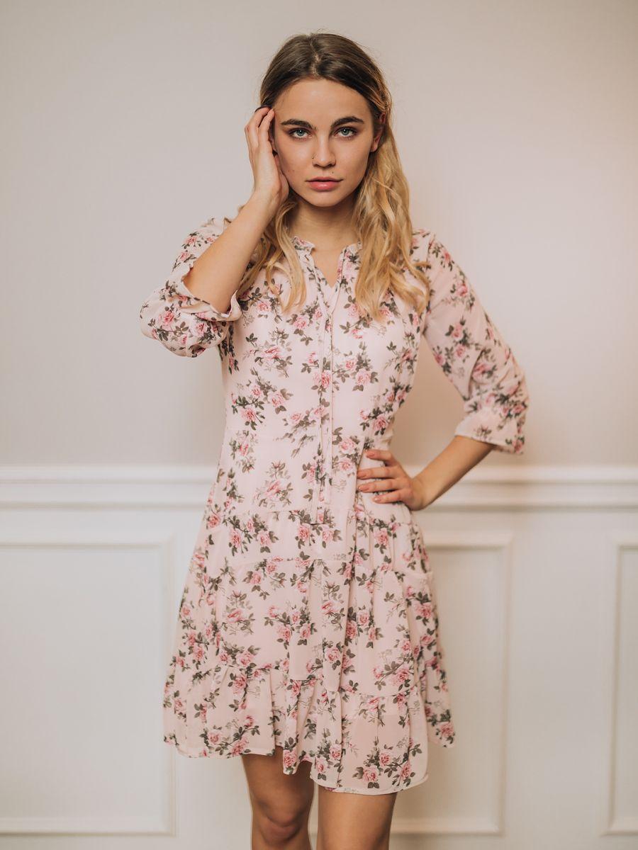 Sukienka Camile Jasny Roz W Kwiaty Fashion Casual Dress Dresses