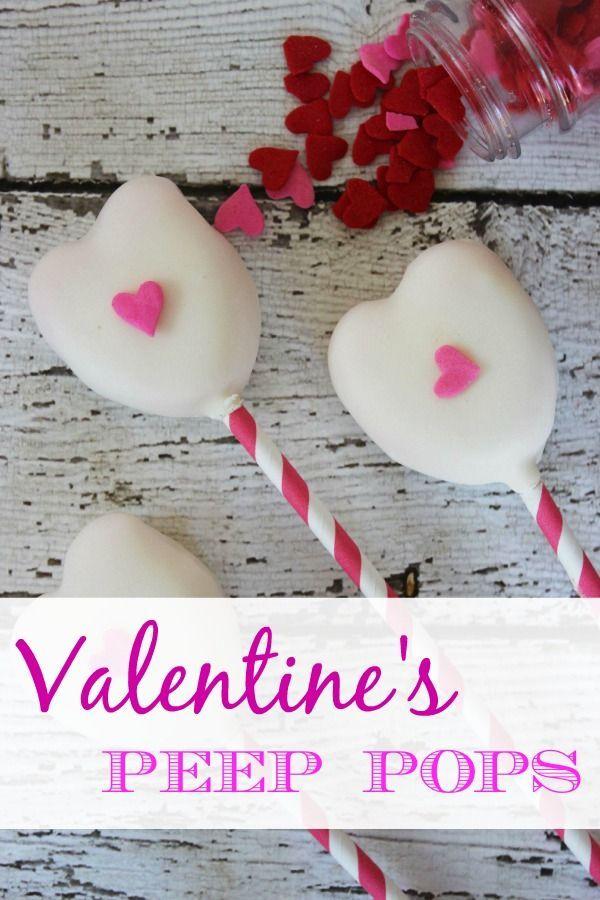 White Chocolate Valentine's Peep Pops (Non Cake Pop Alternative) :: Cute Valentines Day Treat Idea!