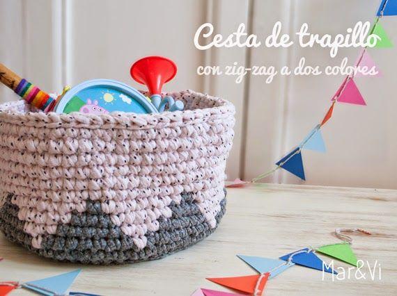 Mar&Vi Creative Studio - España: DIY: Cesta de trapillo con zig–zag a dos colores