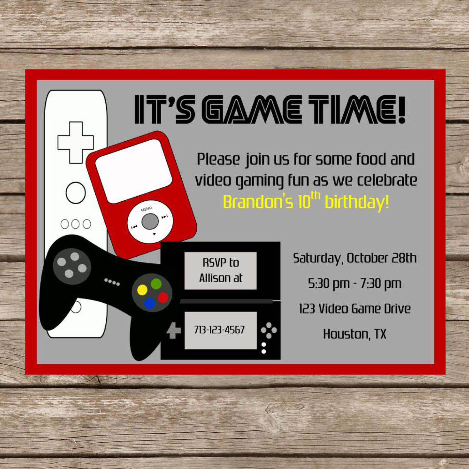 Printable Birthday Video Game Invitation - Video Game Party - Game ...
