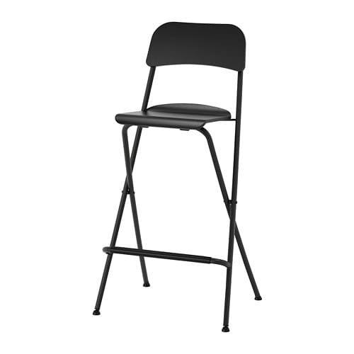 Ikea Franklin Black Black Bar Stool With Backrest