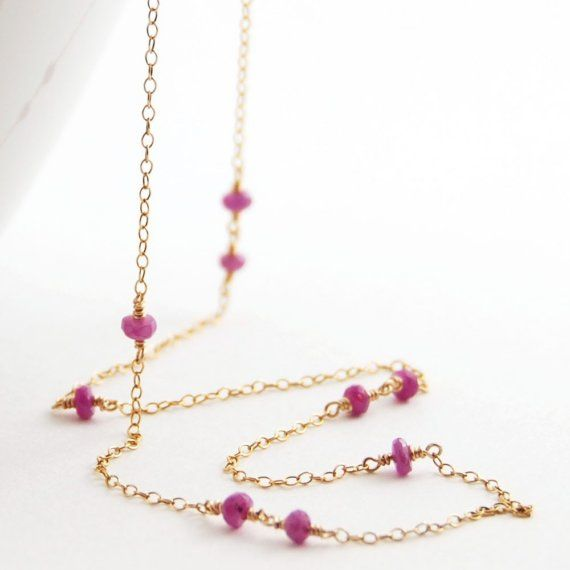 Pink Sapphire Gemstone Gold Layering Necklace, Long Delicate September Birthstone Jewelry