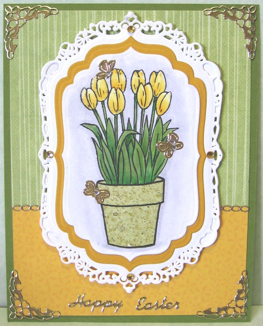 Paper Pieced Flower Pot Tulips Colored With Copic Markers Made By
